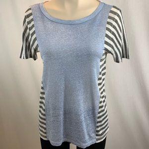 J. Crew Linen Grey Striped Short Sleeve T-shirt S